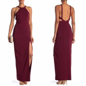 NEW JAY GODFREY Bordeaux Greenwood Open Back Gown